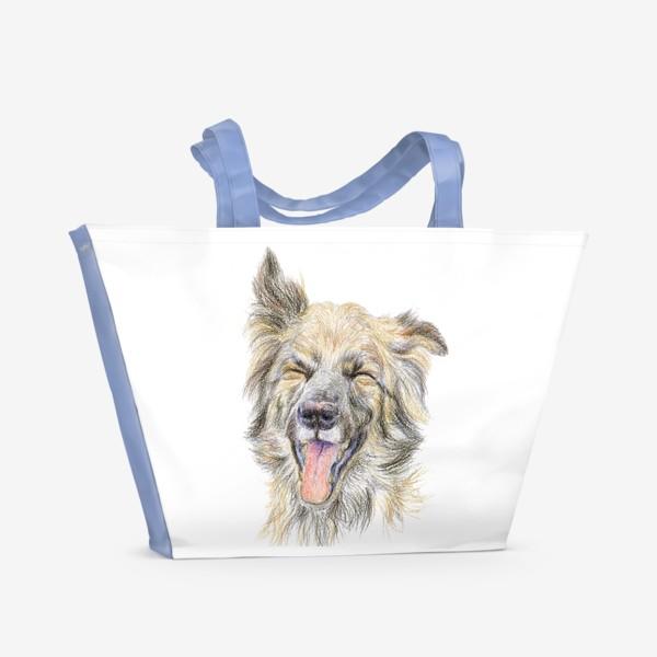 Пляжная сумка «Собака смеётся »