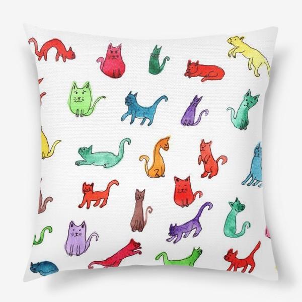 Подушка «Разноцветные коты»