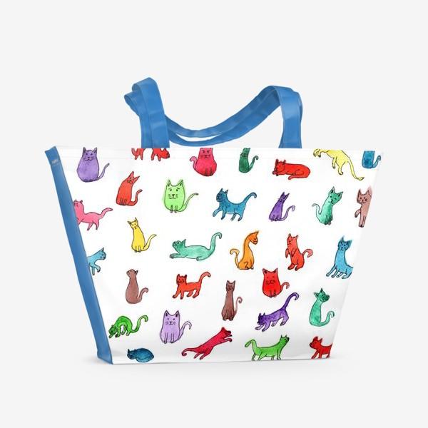 Пляжная сумка «Разноцветные коты»