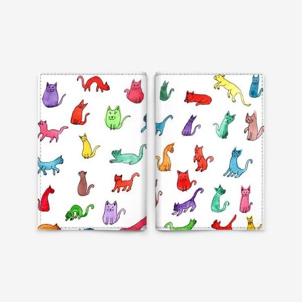 Обложка для паспорта «Разноцветные коты»