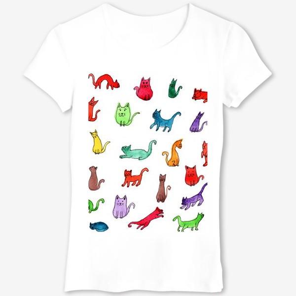 Футболка «Разноцветные коты»