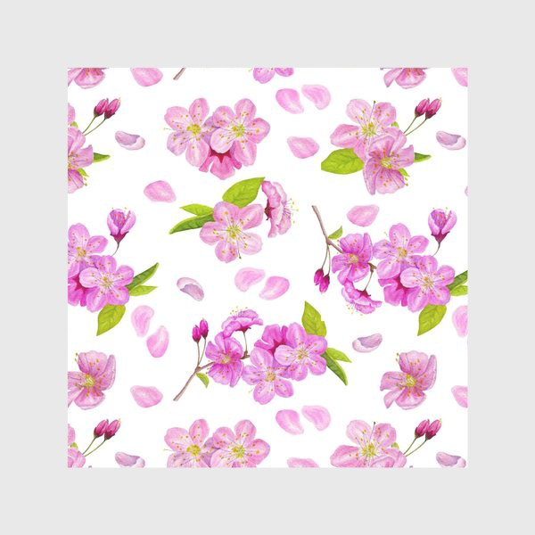 Скатерть «Цветущая вишня паттерн на белом фоне»