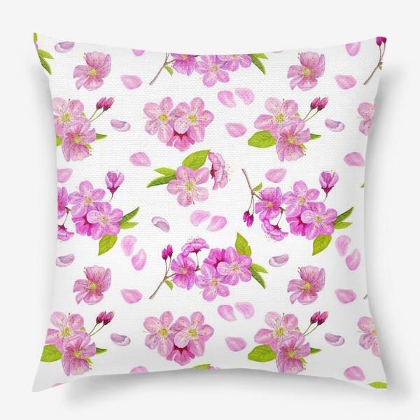 Подушка «Цветущая вишня паттерн на белом фоне»