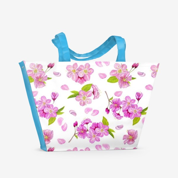 Пляжная сумка «Цветущая вишня паттерн на белом фоне»