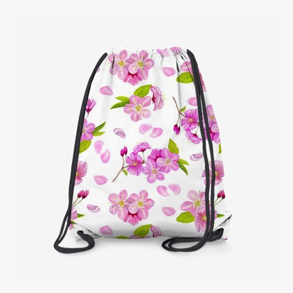 Рюкзак «Цветущая вишня паттерн на белом фоне»