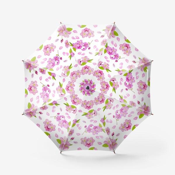 Зонт «Цветущая вишня паттерн на белом фоне»