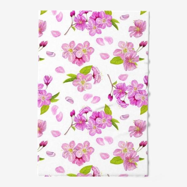 Полотенце «Цветущая вишня паттерн на белом фоне»