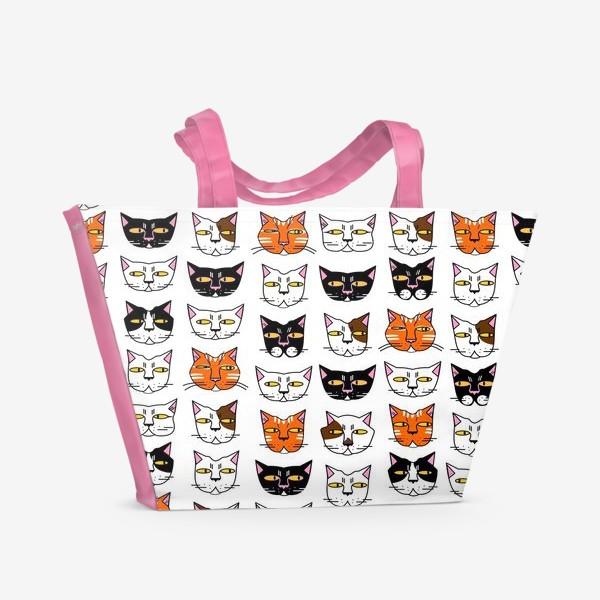 Пляжная сумка «Кошачьи мордашки»