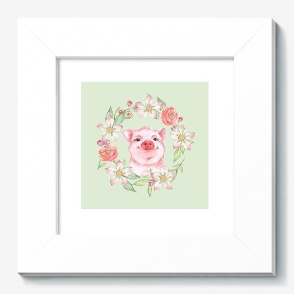 Картина «Розовый поросенок. Акварель»