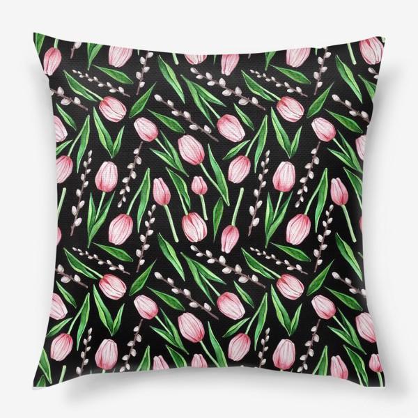 Подушка «тюльпаны. весенний паттерн»