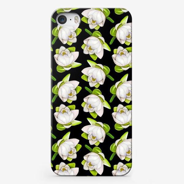 Чехол iPhone «Паттерн  лотос на черном фоне»