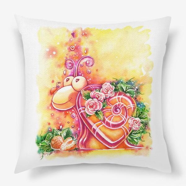 Подушка «Улитка на день святого Валентина»
