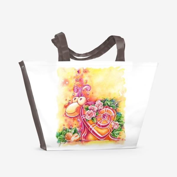 Пляжная сумка «Улитка на день святого Валентина»