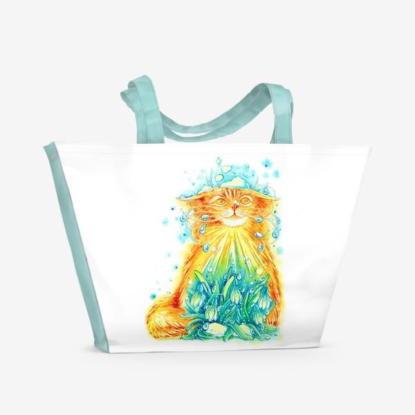 Пляжная сумка «Кот. Рыжий, солнечный, весенний.»