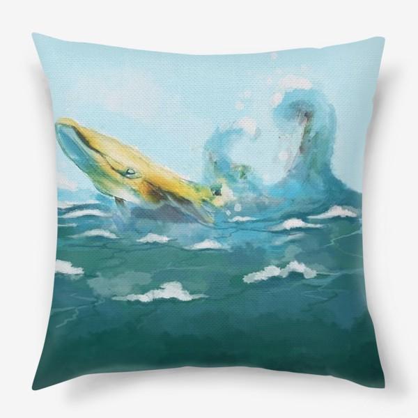 Подушка «Кит. Море. Волны. Океан.»
