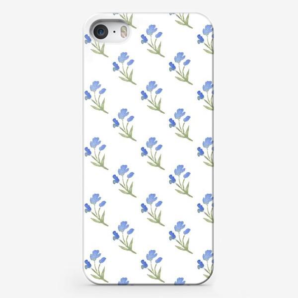 Чехол iPhone «Орнамент из голубых цветов»