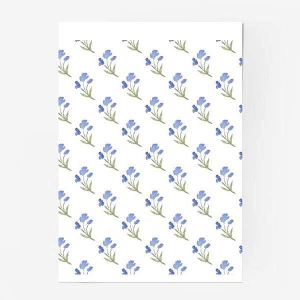 Постер «Орнамент из голубых цветов»