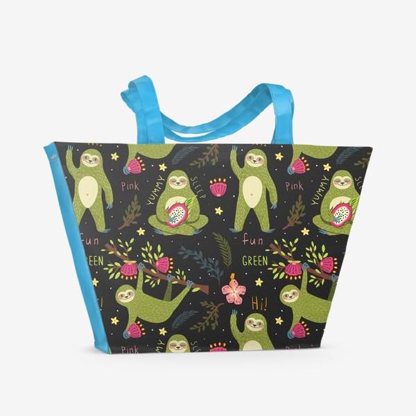 Пляжная сумка «Зеленые ленивцы»