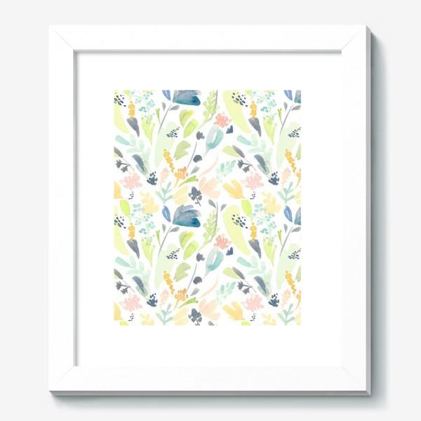 Картина «Паттерн цветочный акварельный в зелено желтых тонах»