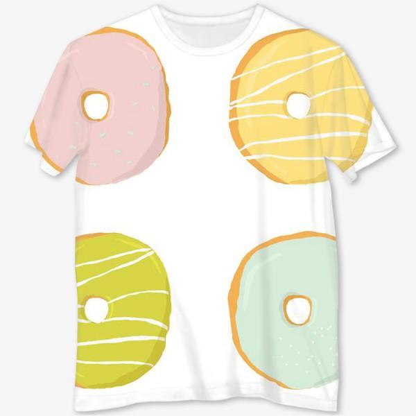 Футболка с полной запечаткой «Аппетитные пончики с глазурью»