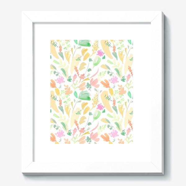 Картина «Цветочный акварельный паттерн в оранжевых тонах»