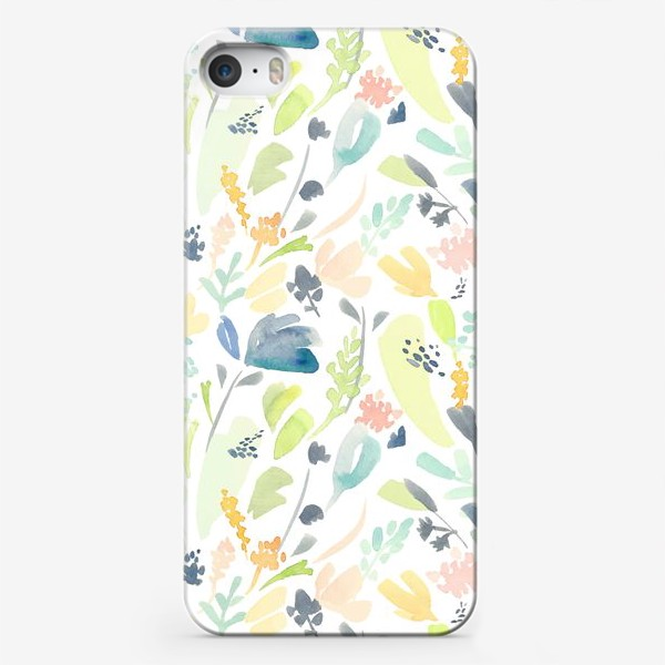 Чехол iPhone «Паттерн цветочный акварельный в зелено желтых тонах»