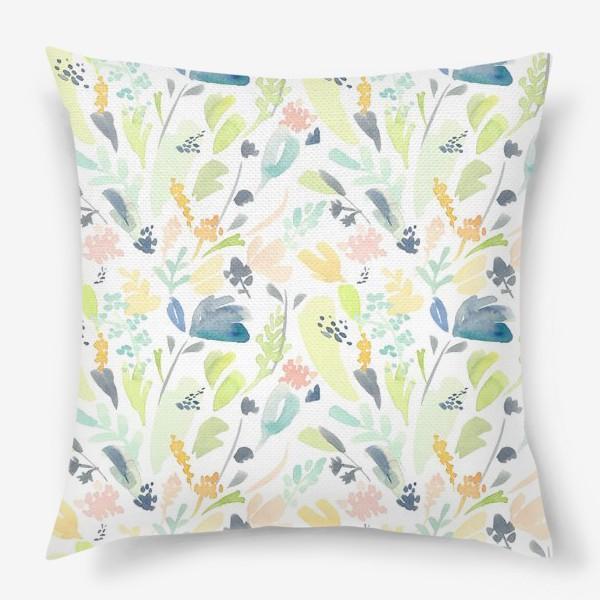 Подушка «Паттерн цветочный акварельный в зелено желтых тонах»