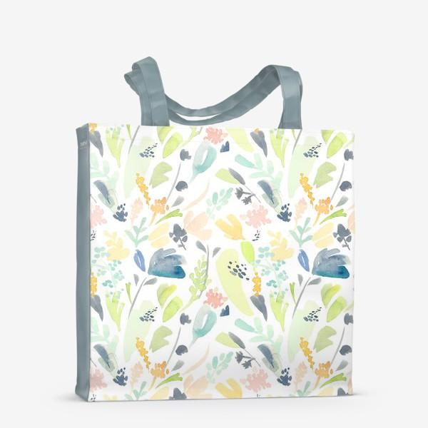 Сумка-шоппер «Паттерн цветочный акварельный в зелено желтых тонах»