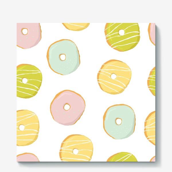 Холст «Аппетитные глазированные пончики. Сладкий паттерн»