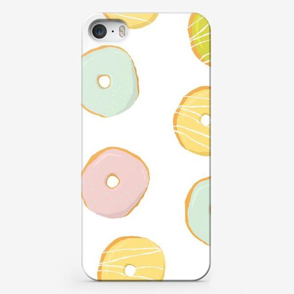 Чехол iPhone «Аппетитные глазированные пончики. Сладкий паттерн»