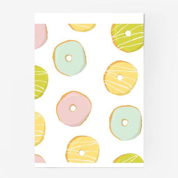 Постер «Аппетитные глазированные пончики. Сладкий паттерн»