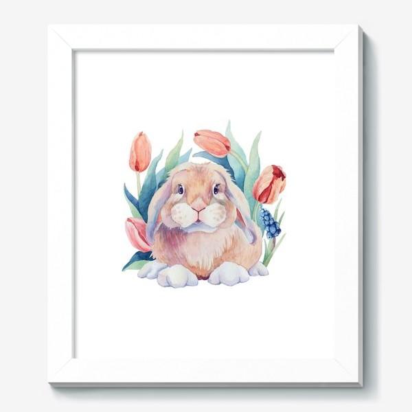 Картина «Зайка в тюльпанах»