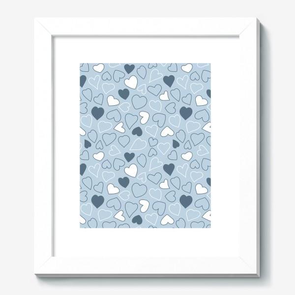 Картина «Сердечки на голубом фоне,»