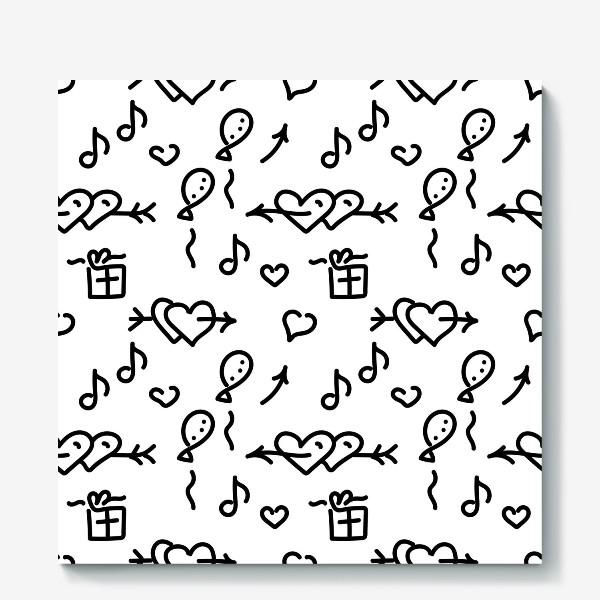 Холст «Сердечки, шарики, подарки,»
