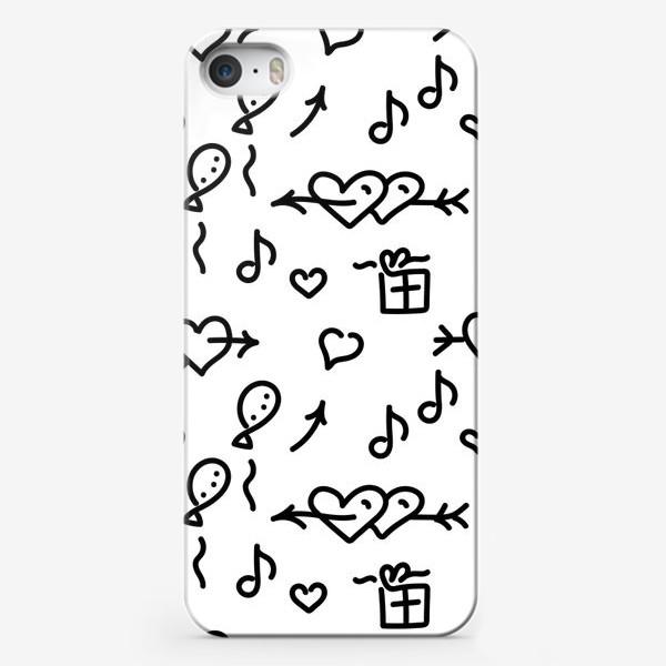 Чехол iPhone «Сердечки, шарики, подарки,»