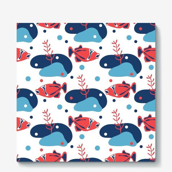 Холст «Подводный мир, Рыбы,»