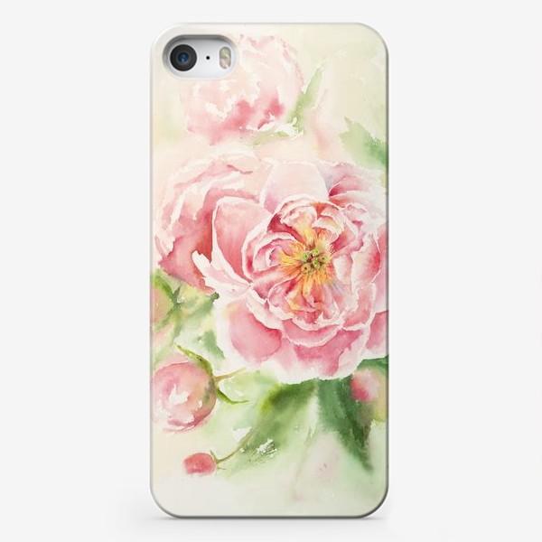 Чехол iPhone «Пионы для мамы или любимой:) Акварель»