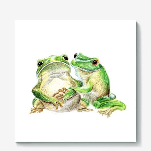 Холст «влюбленные лягушки»