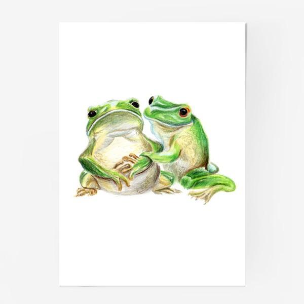 Постер «влюбленные лягушки»