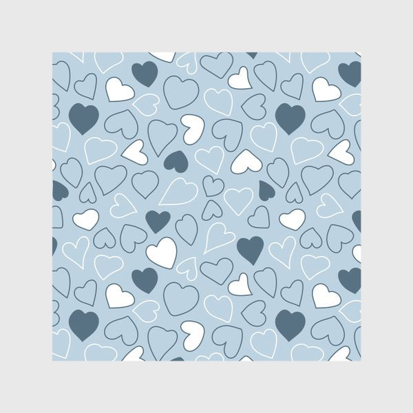 Шторы «Сердечки на голубом фоне,»