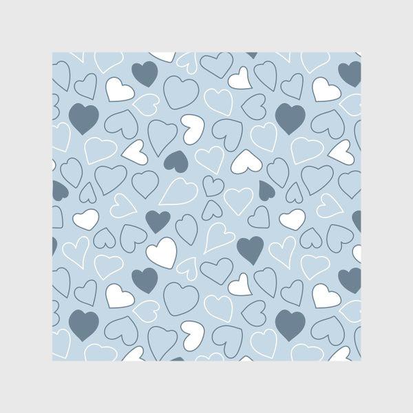 Скатерть «Сердечки на голубом фоне,»
