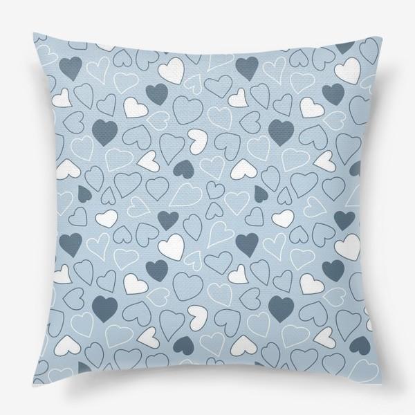 Подушка «Сердечки на голубом фоне,»