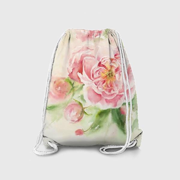 Рюкзак «Пионы для мамы или любимой:) Акварель»