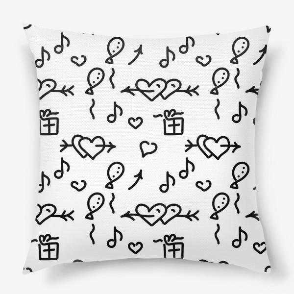 Подушка «Сердечки, шарики, подарки,»