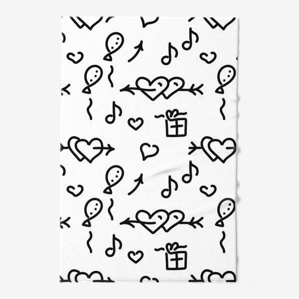 Полотенце «Сердечки, шарики, подарки,»