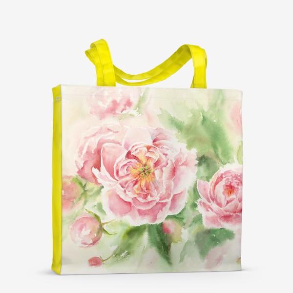 Сумка-шоппер «Пионы для мамы или любимой:) Акварель»