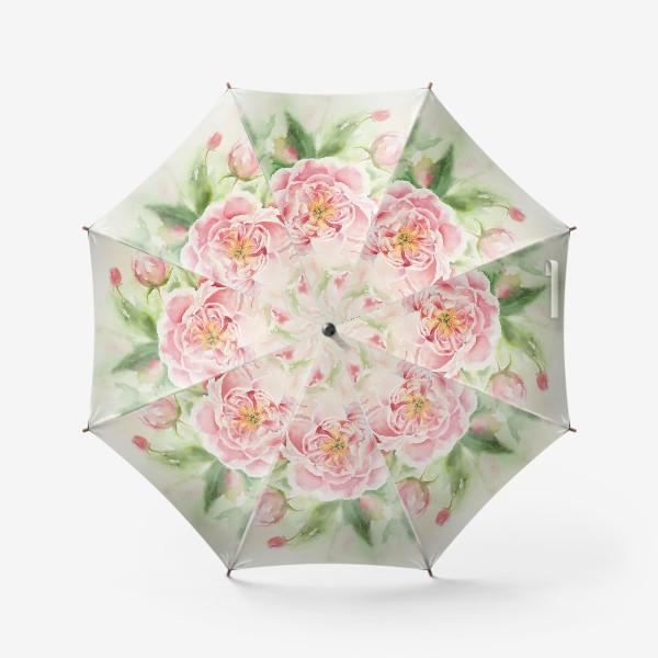 Зонт «Пионы для мамы или любимой:) Акварель»