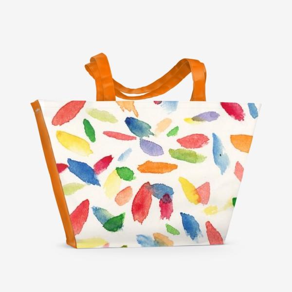 Пляжная сумка «Разноветные акварельные пятна. Абстракция»
