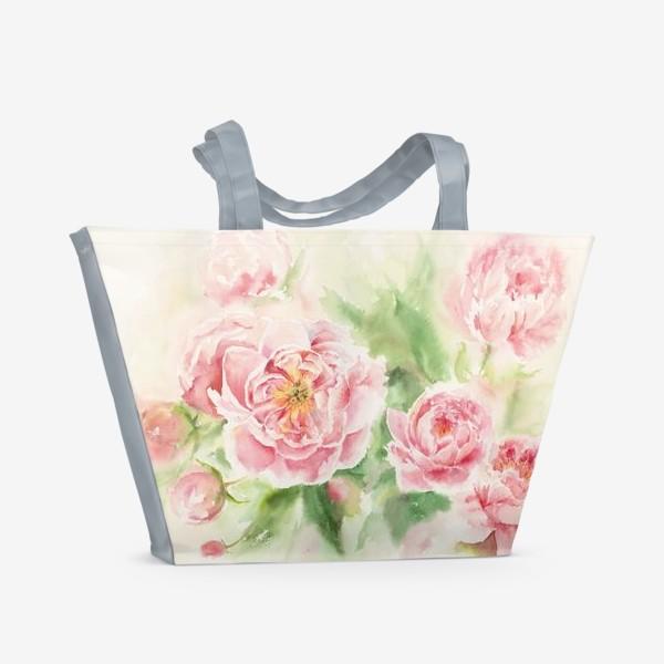 Пляжная сумка «Пионы для мамы или любимой:) Акварель»