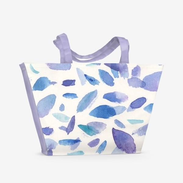 Пляжная сумка «Акварельные пятна в бирюзово-фиолетовых тонах»